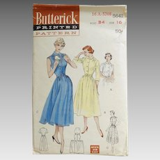 Vintage 1950s Butterick Quick and Easy Sewing Pattern for Fit and Flare Shirtwaist Dress 5641