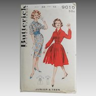 Vintage 1960s Uncut  Sewing Pattern 9010 Rockabilly Shirtwaist Dress with Full or Straight Skirt Jr Teen