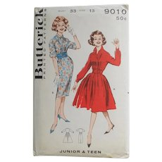 Vintage 1960s Uncut  Sewing Pattern 9010 Rockabilly Shirtwaist Dress with Full or Straight Skirt Jr Teen