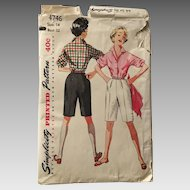 Vintage 1954 Simplicity Sewing Pattern # 4746 Shorts Blouse Sportswear