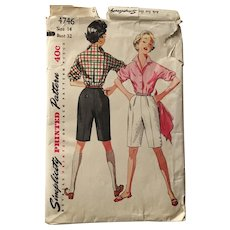 Vintage 1954 Simplicity Sewing Pattern # 4746 Shorts Blouse Sportswear