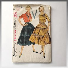 Vintage 1952 Simplicity 3978 Sewing Pattern for Patio Dress Outfit Tiered Broomstick Prairie Skirt and Tops