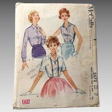 Vintage 1960 McCalls Sewing Pattern # 5572 Rockabilly Blouse Sleeveless Shortsleeve Longsleeve VLV
