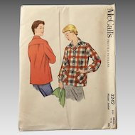 Vintage 1955 NOS McCalls Sewing Pattern for Casual Jacket 49er Style Uncut XS
