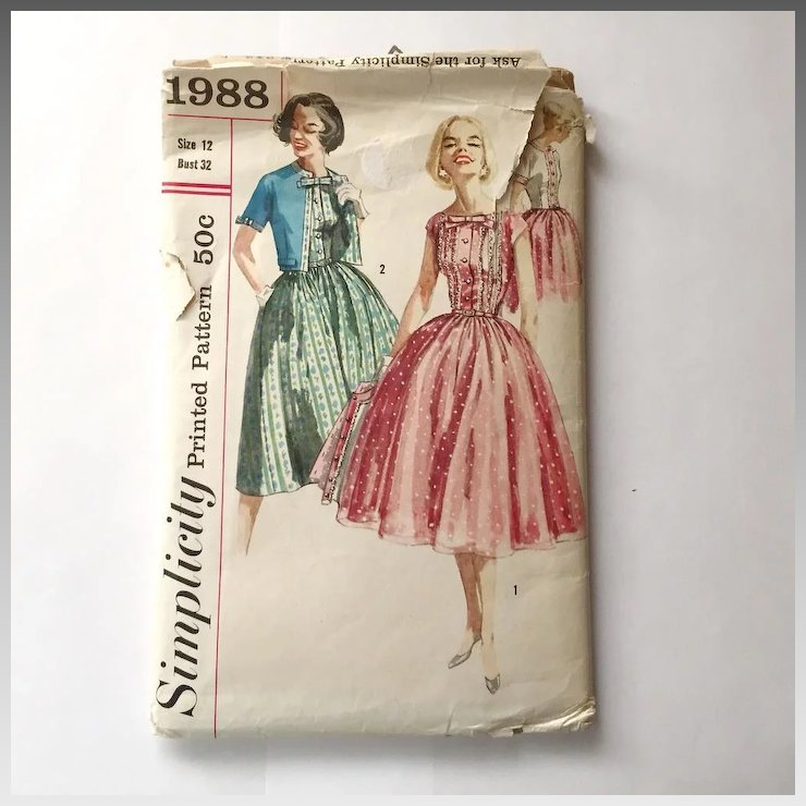 Vintage 1957 Fit And Flare Dress With Cropped Jacket Sewing Pattern