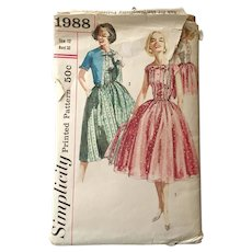 Vintage 1957 Fit and Flare Dress with Cropped Jacket Sewing Pattern Simplicity # 1988