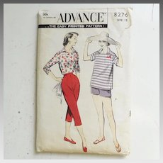 END OF SUMMER SALE Vintage 1950s Advance Sewing Pattern for Capri Pants, Shorts and Pullover Italian Shirt