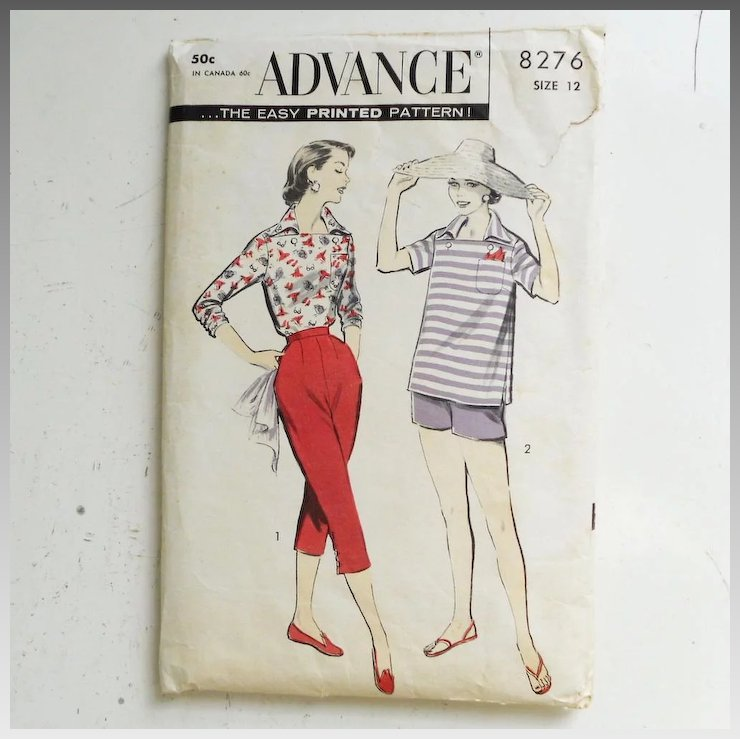 Vintage 1950s Advance Sewing Pattern for Capri Pants, Shorts and ...