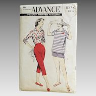 Vintage 1950s Advance Sewing Pattern for Capri Pants, Shorts and Pullover Italian Shirt