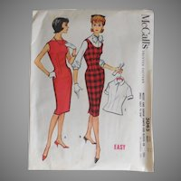 Vintage 1959 McCalls Sewing Pattern # 5045 Classic Sheath Dress Blouse Jumper EASY