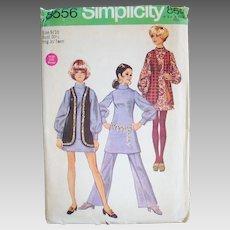 Vintage 1969 Simplicity Dress Vest Trousers Sewing Pattern 8556