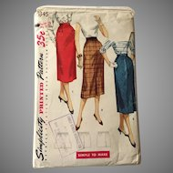 Vintage 1955 Pencil Skirt Pattern by Simplicity Number 1345 Simple to Make