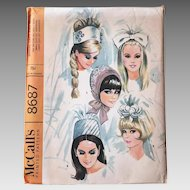 Vintage 1960s Bridal Veil Wedding Cap Sewing Pattern McCall's 8687