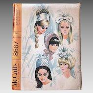 Vintage 1960s Bridal Veil Wedding Cap Sewing Pattern McCall's 8687