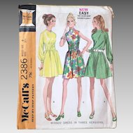 Vintage 1970s Easy A Line Dress Long Sleeve Sleeveless Elastic Waist Options McCall's 2386
