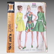 Vintage 1970s Easy A Line Dress Long Sleeve Sleeveless Elastic Waist Options McCall's 2386