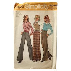 Vintage 1973 High Waisted Dress Trousers Pants for Women with Wide Legs Sewing Pattern #5805 Simplicity