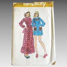 Vintage 1970s 1971 Yoked Mini Dress Maxi Dress Pattern Simplicity 9778