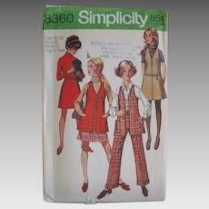 Vintage 1969 Simplicity Wardrobe Ensemble Separates Sewing Pattern 8360