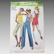 Vintage 1970s 1971 Simplicity Sewing Pattern 9375 Shorts Gauchos Capris Overalls Pants