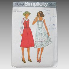 Vintage 1970s 1977 Sundress Jumper Prairie Dress Sewing Pattern by Simplicity 8049