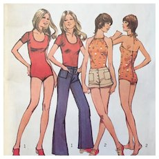 Vintage 1970s 1972 Swimsuit Bodysuit Shorts and Pants Sewing Pattern by Simplicity #5040