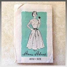 Vintage 1950s Anne Adams Fit and Flare Sweetheart Neckline Bias Cut Skirt Dress Pattern 4553
