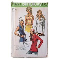 Vintage 1971 Simplicity Sewing Blouse Pattern with Long Collar Lace Up or Button Front 9460