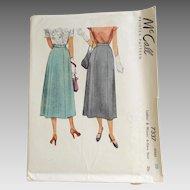 Vintage 1947 McCall McCalls Long Princess Seamed 6 Gore Skirt Pattern #7337 Waist 30