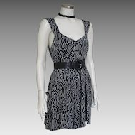 Vintage 1990 Black and White Abstract Print Romper from Bali Indonesia