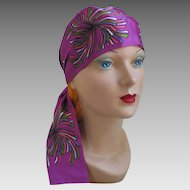 Vintage 1970s Orchid Abstract Print Skinny Scarf