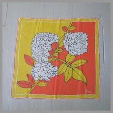 Vintage 1960s Vera VeraSheer Mod Flower Print Scarf Orange Yellow