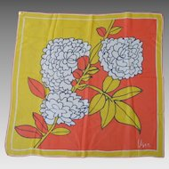 Vintage 1960s Vera VeraSheer Mod Flower Print Scarf Orange Yellow