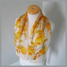Vintage 1960s Vera Verasheer Print Rectangular Scarf Gold Orange White