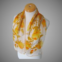 Vintage 1960s Vera Verasheer Print Rectangular Scarf Gold Orange White