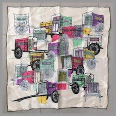 Vintage 1960s Silk Scarf with Colorful Rickshaw Novelty Print