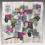 Vintage 1960s Silk Scarf with Colorful Rickshaw Print