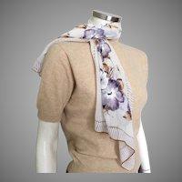 Vintage 1940s Long Skinny Scarf White Purple Camel Flowers
