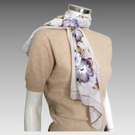 Vintage 1970s Long Skinny Scarf White Purple Camel Flowers
