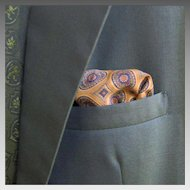 Vintage 1960s Autumn Harvest Foulard Print Gold Olive Green Navy Maroon Paisley Pocket Square