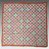 Vintage 1960s Sheer Argyle Fall Plaid Scarf Turquoise Orange Chestnut Lime