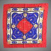 Vintage 1980s Red White and  Blue Novelty Print Designer Look Scarf