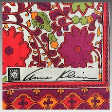 Vintage 1970s Paisley and Floral Print Scarf by Anne Klein with Lion Logo and Signature