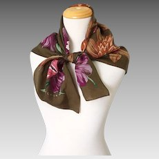 Vintage 1980s Enormous Floral Print Silk Scarf in Autumn Colors by Echo