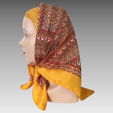Vintage 1960s Autumn Colors Amber Gold Orange Rust on White Exotic Foulard Print Scarf