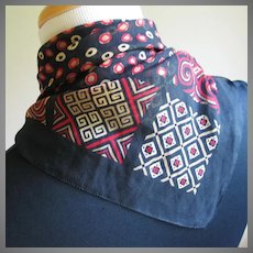 Vintage 1980s Diane Von Furstenberg Red and Black Geometric Print Scarf