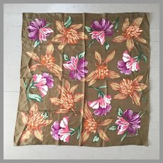 Vintage 1980s Enormous Floral Print Silk Scarf in Fall Colors by Echo