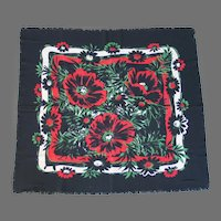 Vintage 1950s Black Scarf with Huge Red Green and White Flower Print