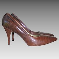 SUMMER SALE: Vintage 1960s Palizzio Brown Embossed Reptile Leather Stiletto Heels Shoes 8B
