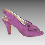 1970s Vintage Purple Suede Sling Back Peeptoe Heels Bonnie Smith for Kimel M
